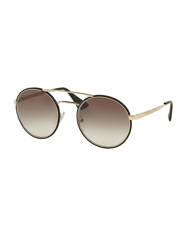Prada Round Brow-bar Sunglasses in Metallic Lyst