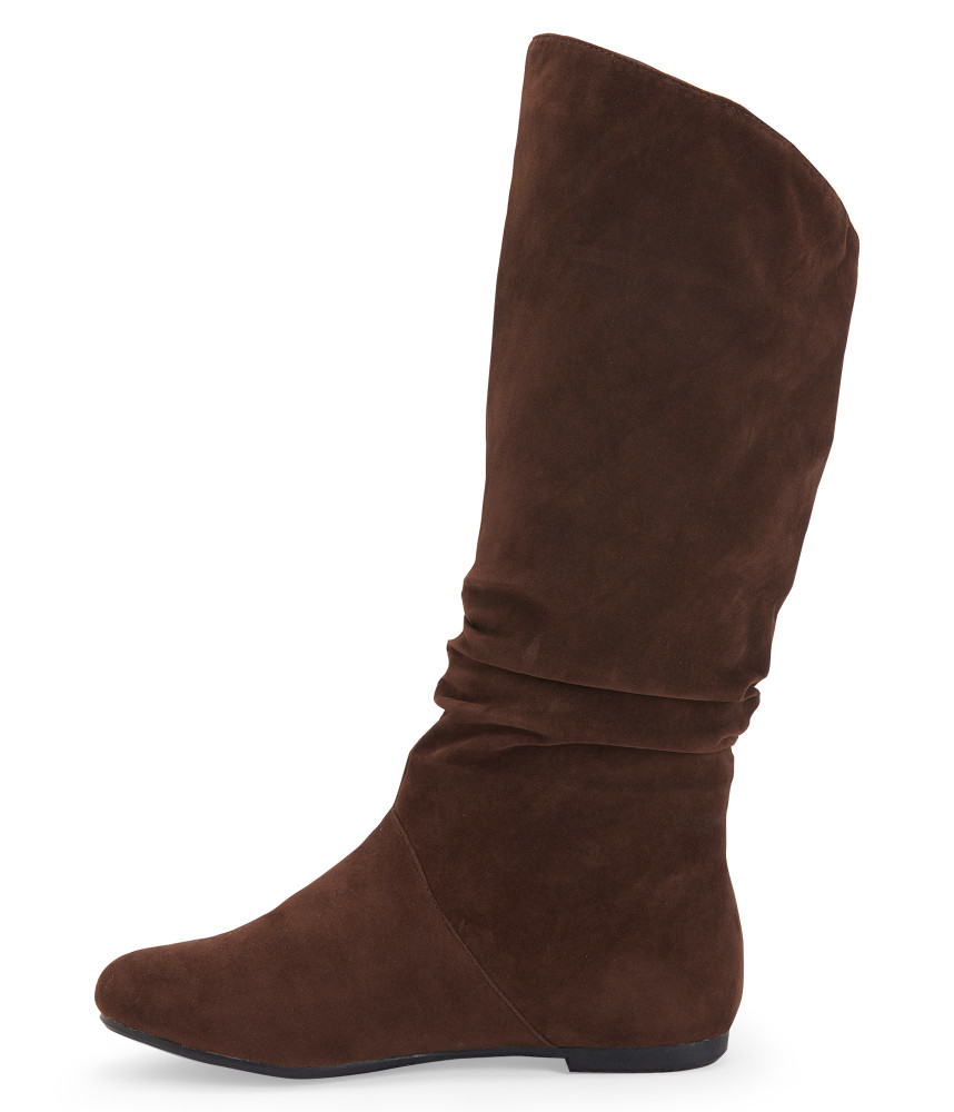 blue suede shoes faux suede scrunched boot in brown lyst