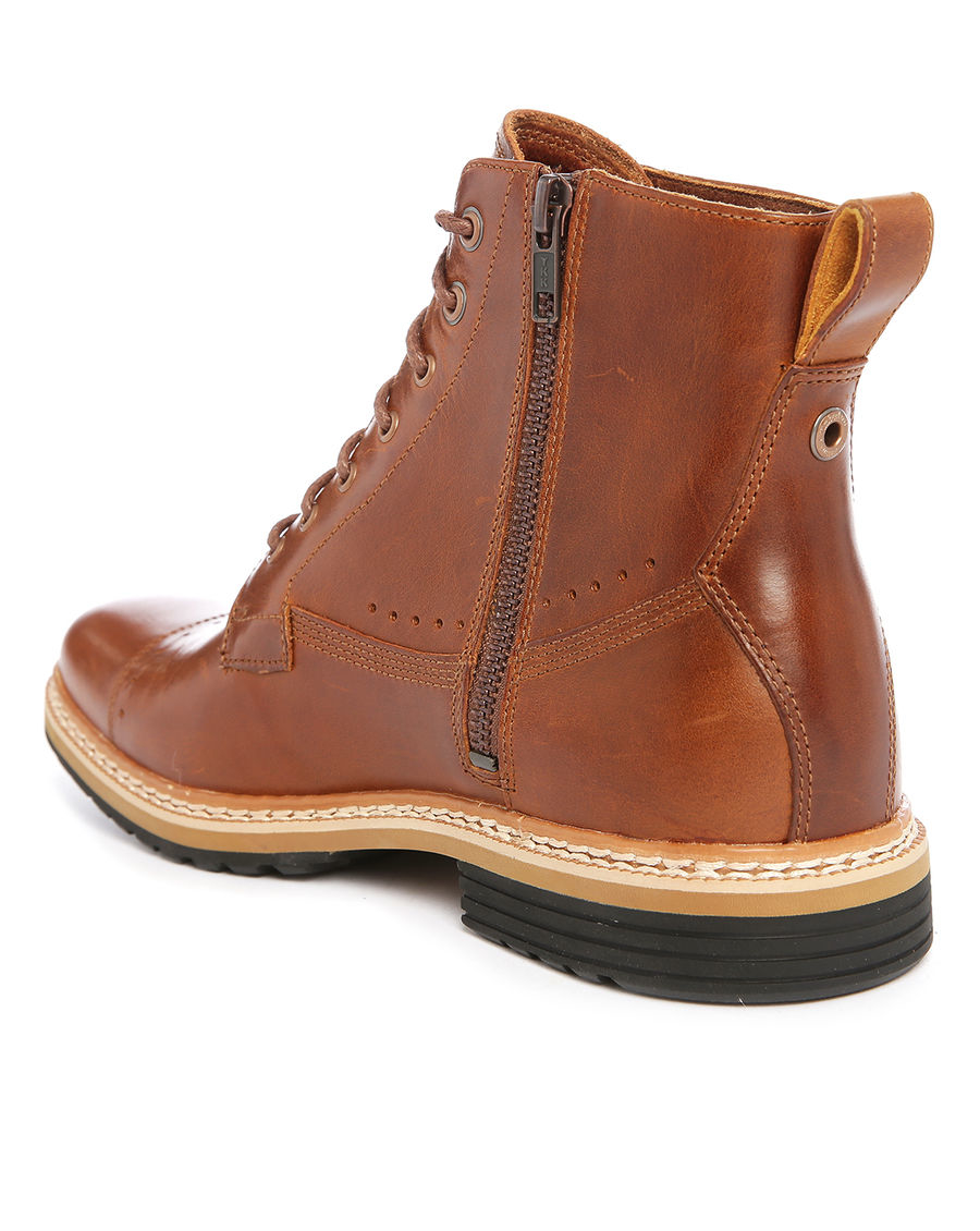 Mens Brown Leather Boots With Side Zipper American Go Association