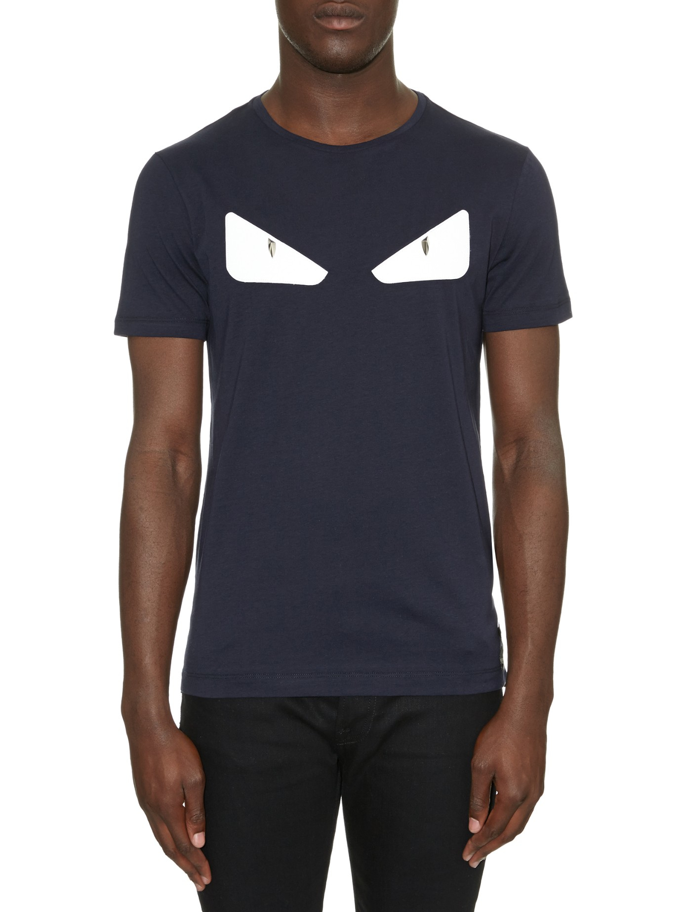 c82ad409ad Lyst - Fendi Bag Bugs Eyes Leather And Cotton-jersey T-shirt in Blue ...