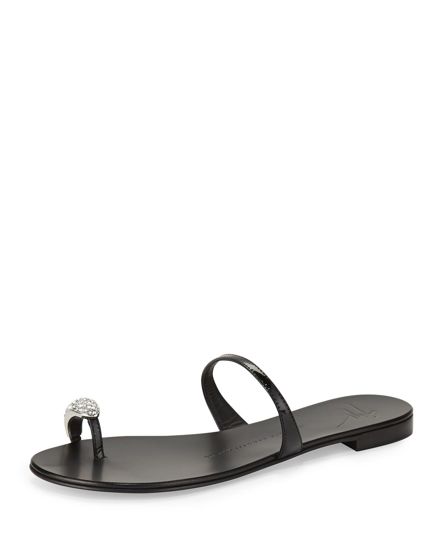 211e0e99d7963 Giuseppe Zanotti Crystal Toe-Ring Sandals in Black - Lyst