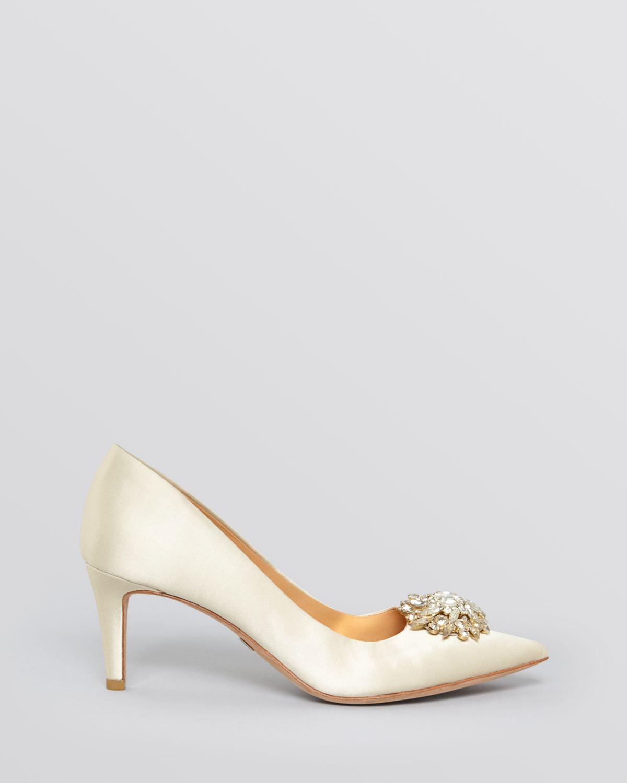 cd2e210628 Badgley Mischka Pointed Toe Evening Pumps - Gardenia Mid Heel in ...