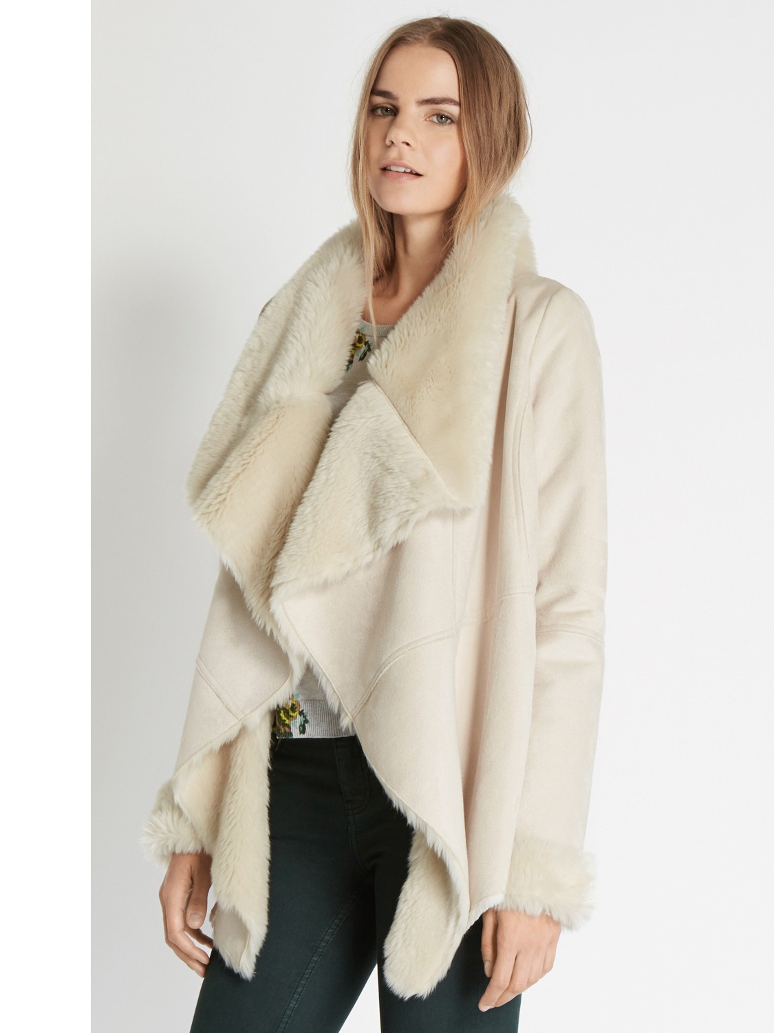 Oasis Faux Shearling Drape Coat in Natural | Lyst