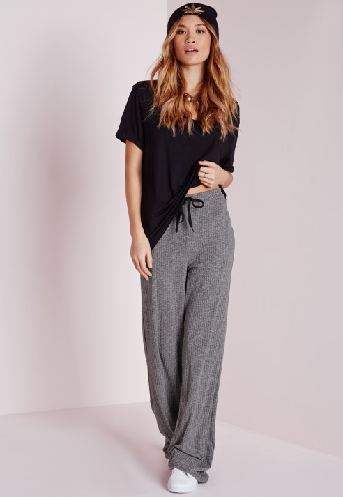Missguided Ribbed Wide Leg Trousers Grey in Gray | Lyst