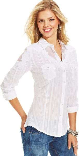 Guess White Lace Blouse - Silk Blouses