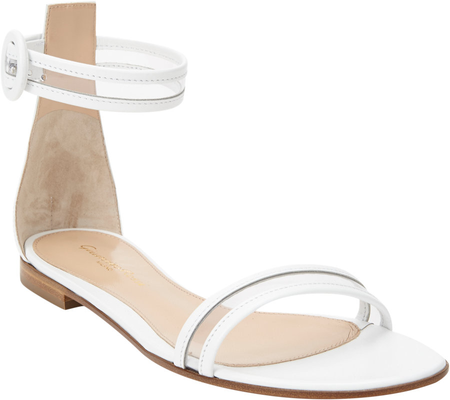 Gianvito rossi Pvc Anklestrap Flat Sandals in White | Lyst