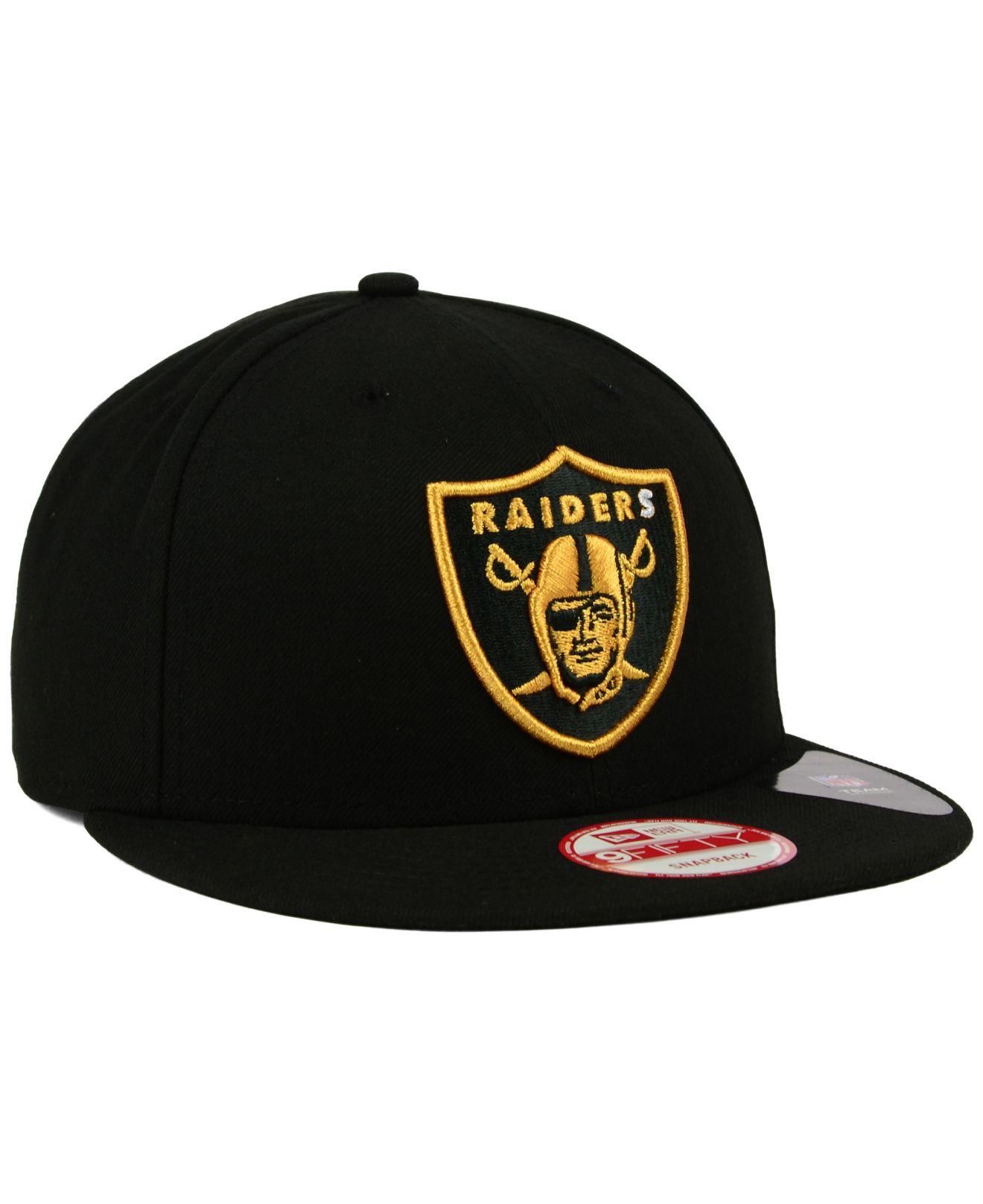 Lyst - KTZ Oakland Raiders Black Metallic Gold 9fifty Snapback Cap ... 42cb3d89a330