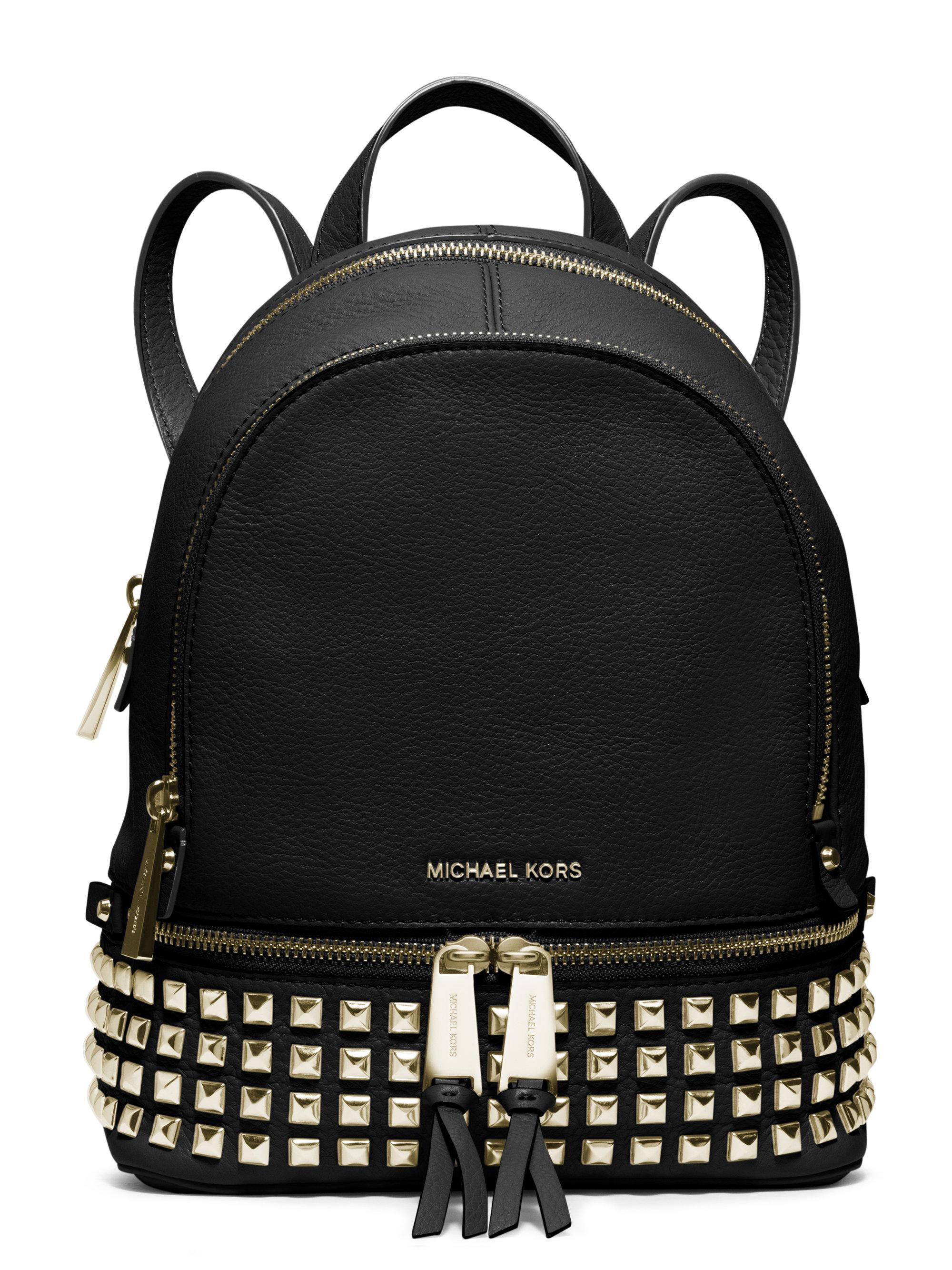 e272519c6ff4 ... real lyst michael michael kors rhea mini studded leather backpack in  black d29c5 5008a