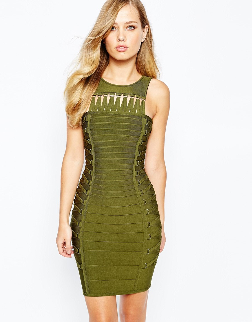 Green Olive lace dress pictures