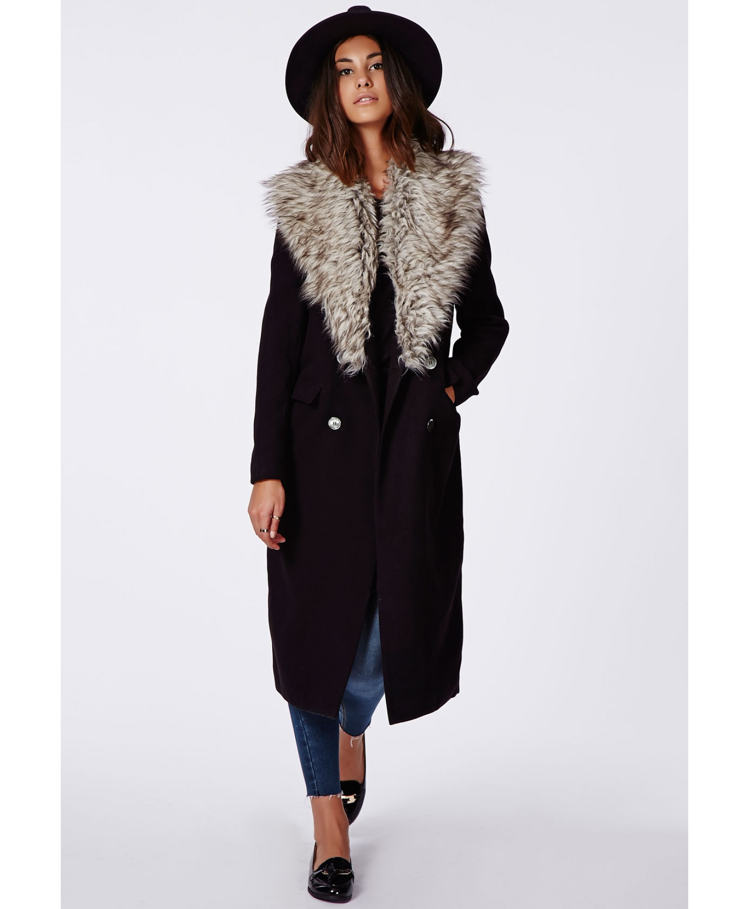a203f1e7cec8 Missguided Amalie Faux Fur Collar Wool Coat Black in Black - Lyst