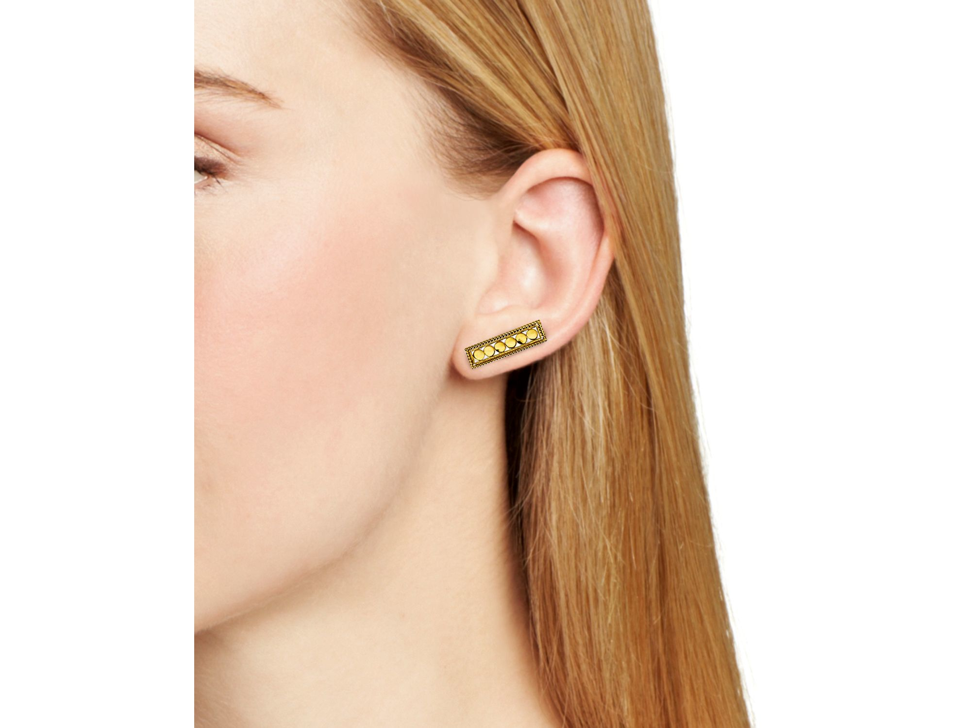 gold flat dipped earrings bar dogeared balance stud