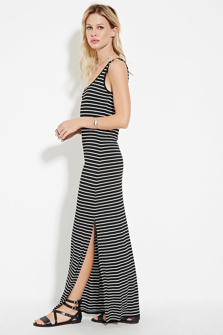 forever 21 striped highslit maxi dress in white lyst