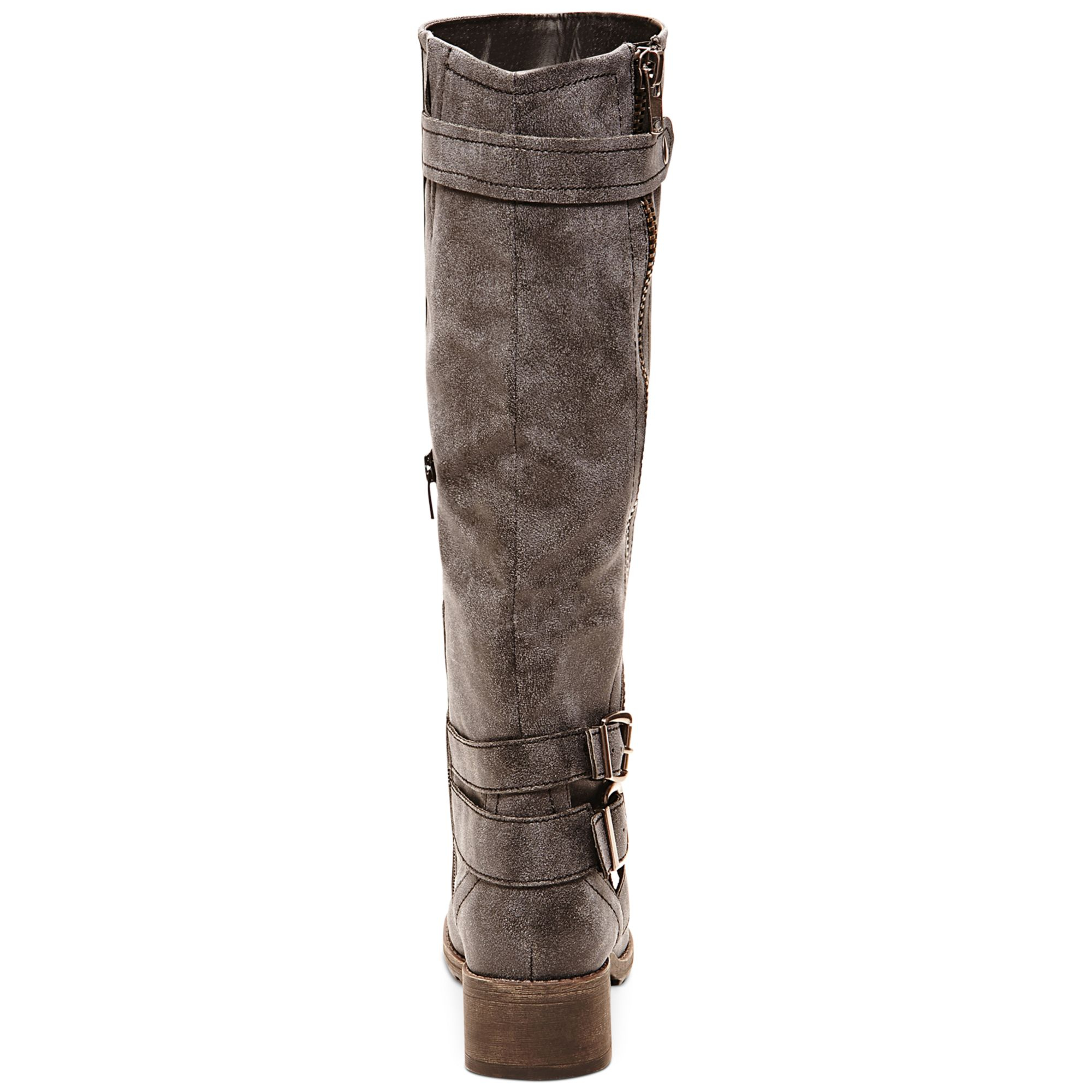 Madden Girl Master Tall Shaft Boots In Gray Lyst