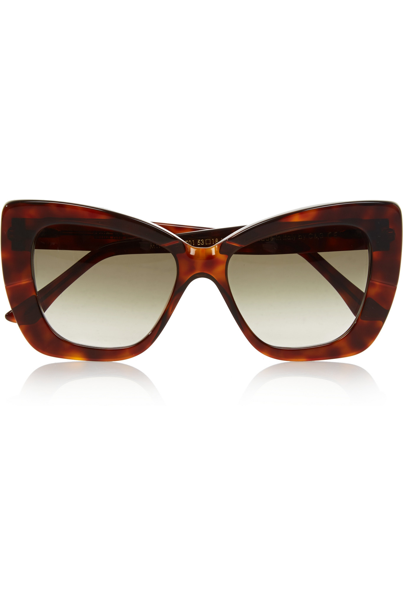 Cubist Cat-eye Leather-trimmed Printed Acetate Sunglasses - Black Cutler and Gross ammuzG