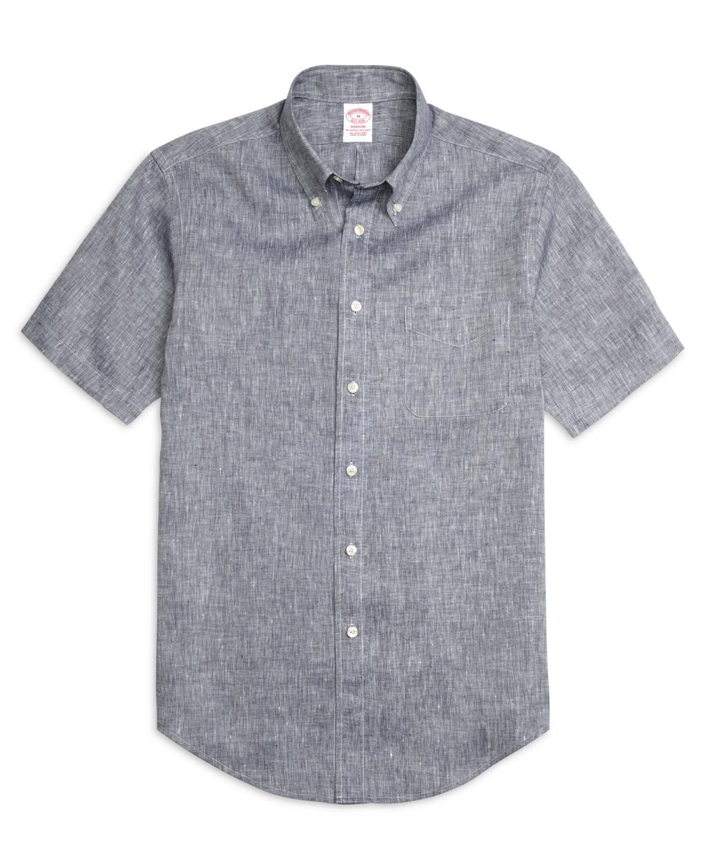 Brooks brothers regent fit linen short sleeve sport shirt for Brooks brothers sports shirts