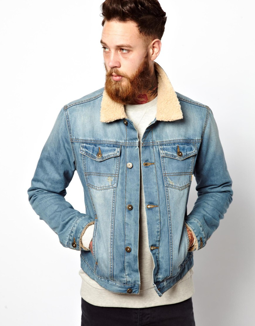 Collection Denim Jacket With Fur Collar Mens Pictures - Reikian