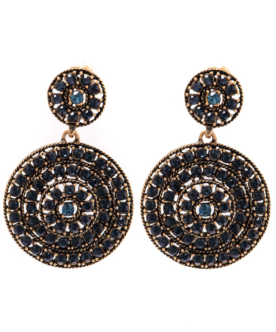 Oscar De La Renta Jeweled Disk Clip-On Earrings Y80an