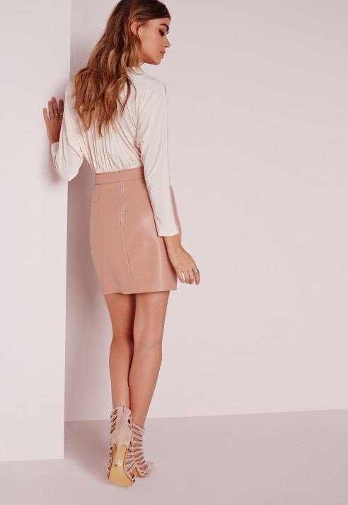 Missguided Buckle Detail Faux Leather Mini Skirt Nude Pink in ...