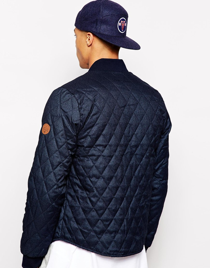 b8a21f64d944 Lyst - Native Youth Quilted Herringbone Curved Hem Varsity Jacket in ...