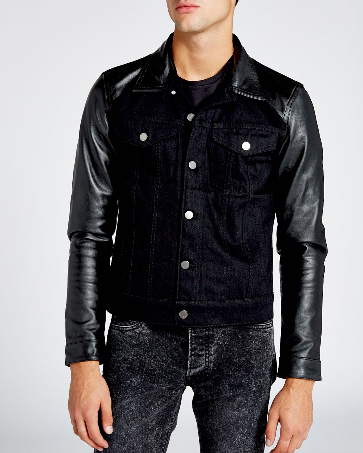 6a57f4a342d Lyst - The Kooples Leather Sleeve Denim Jacket in Black for Men