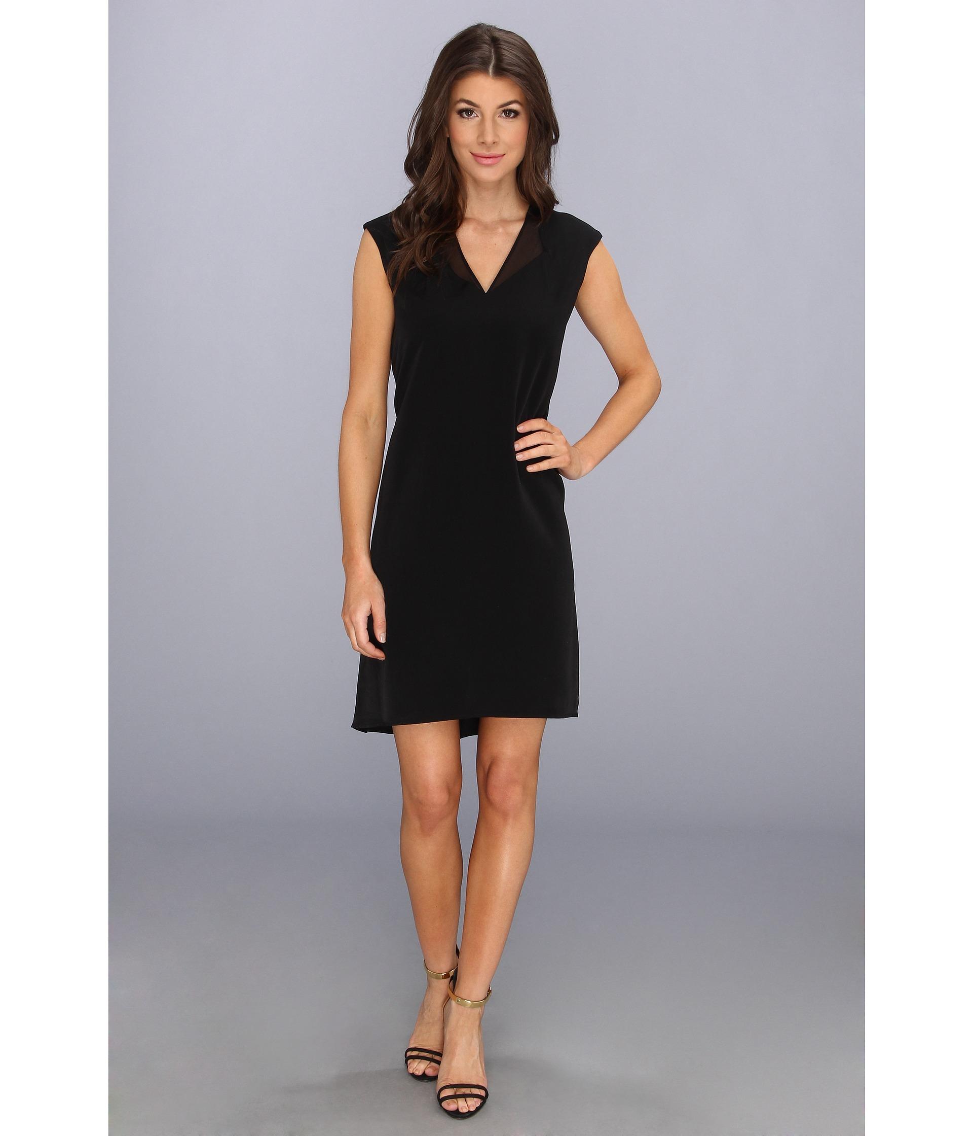 65bcc6103ea39 Lyst - Calvin Klein Vneck 4 Ply Dress W Chiffon in Black