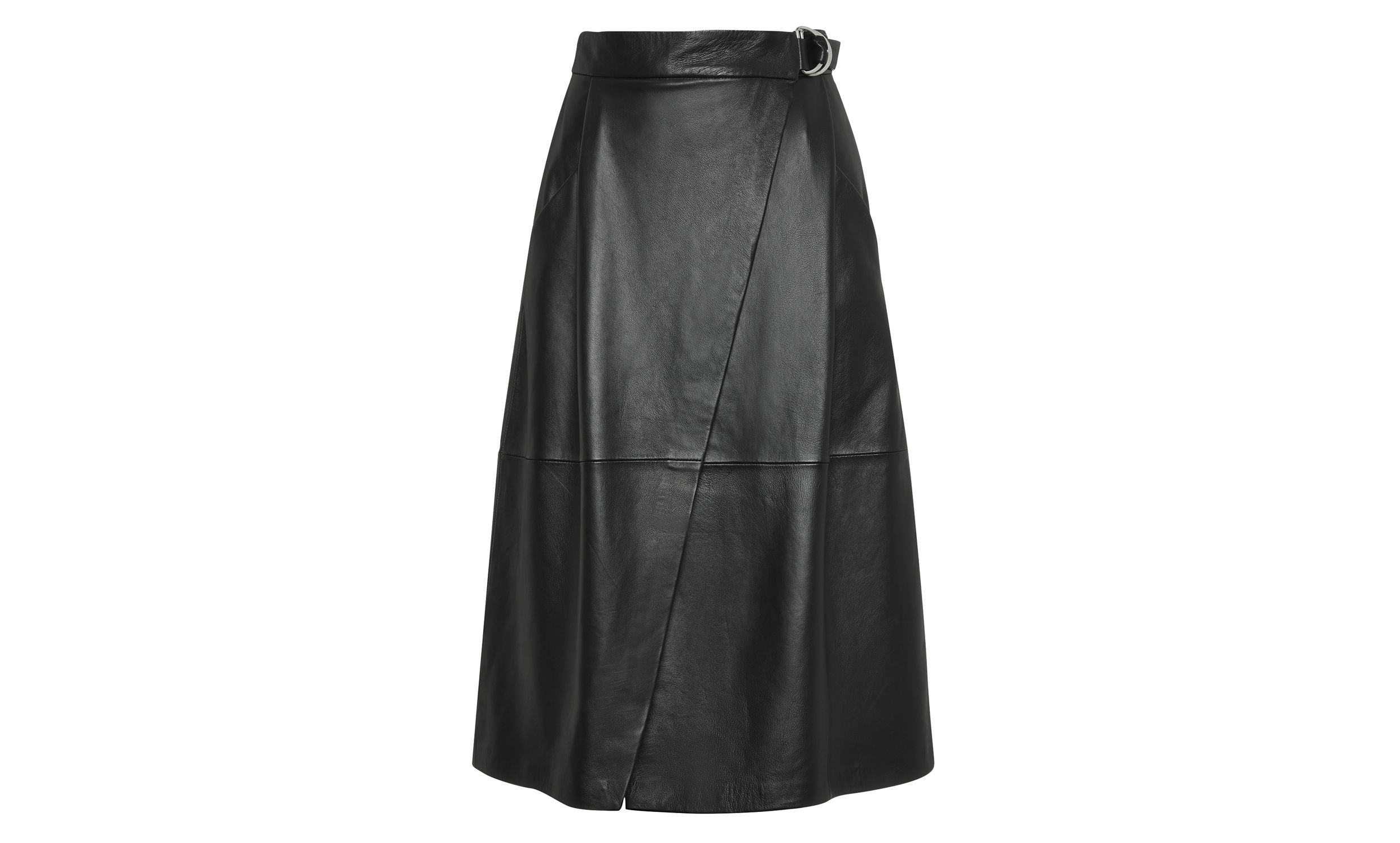 whistles wrap leather midi skirt in black lyst