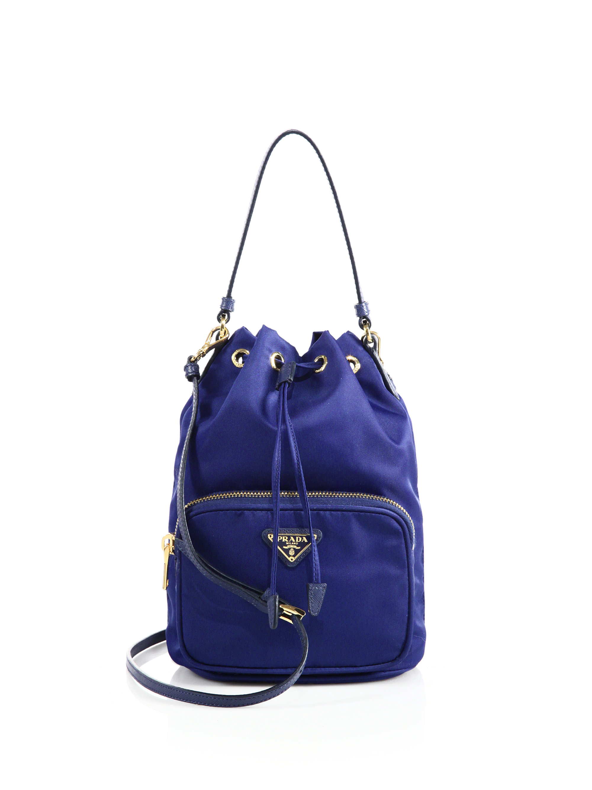prada inspired - Prada Mini Nylon & Leather Bucket Bag in Blue | Lyst