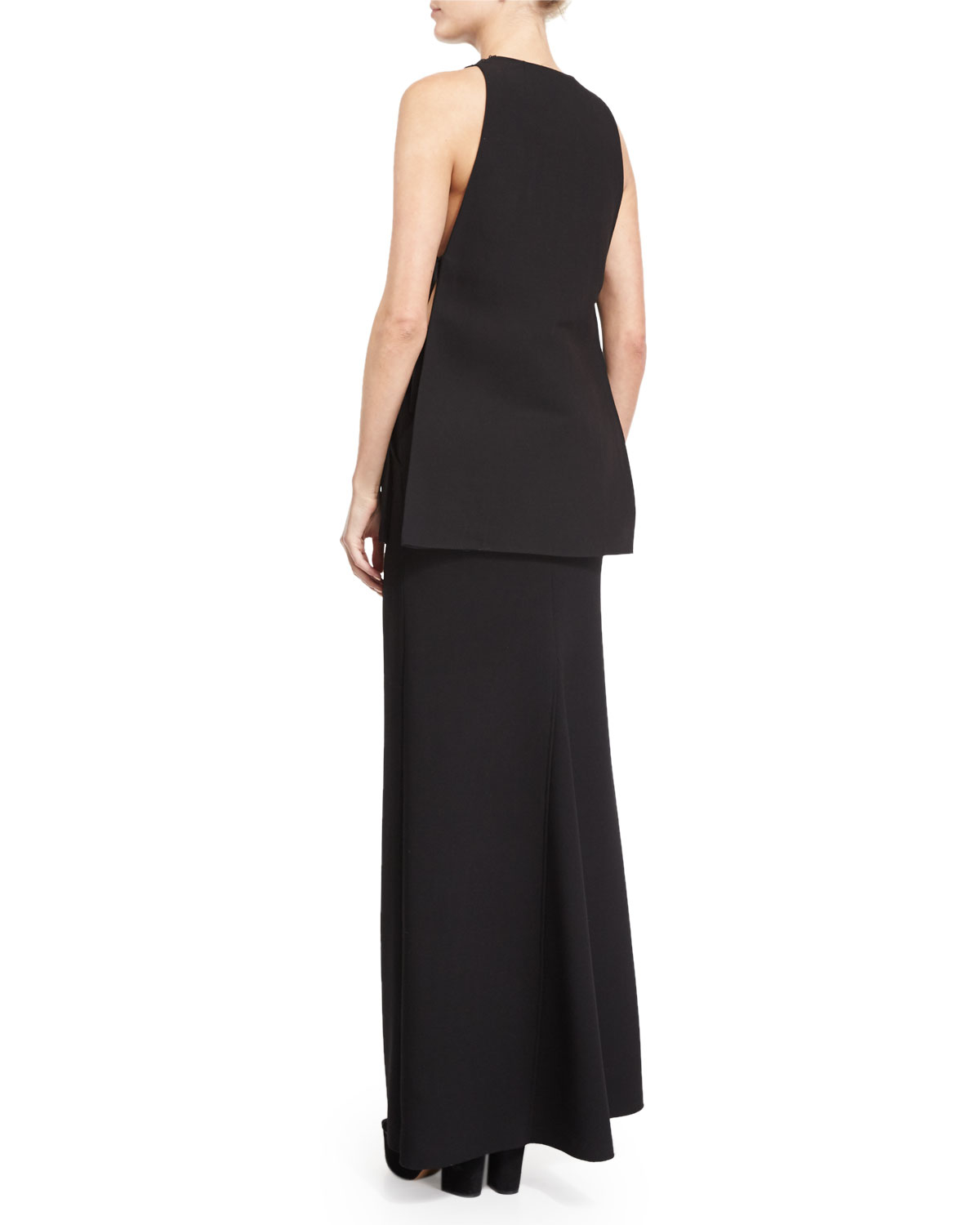 costume national front slit wool maxi skirt in black lyst