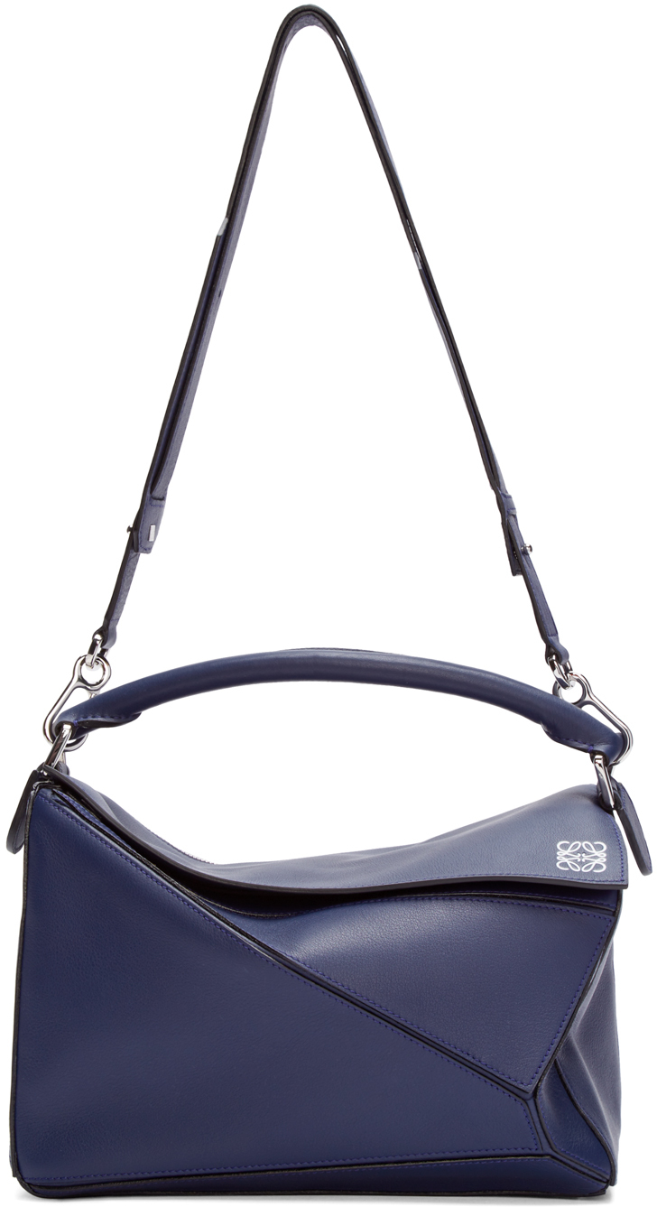 bb7b0a6665d9 Lyst - Loewe Navy Leather Puzzle Bag in Blue