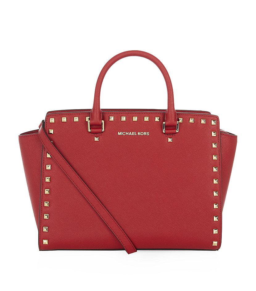 michael michael kors studded selma satchel in red gold lyst. Black Bedroom Furniture Sets. Home Design Ideas
