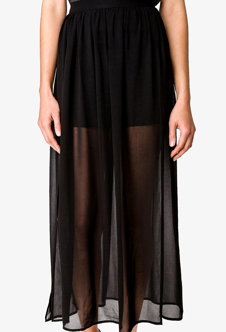 forever 21 slit chiffon maxi skirt in black lyst