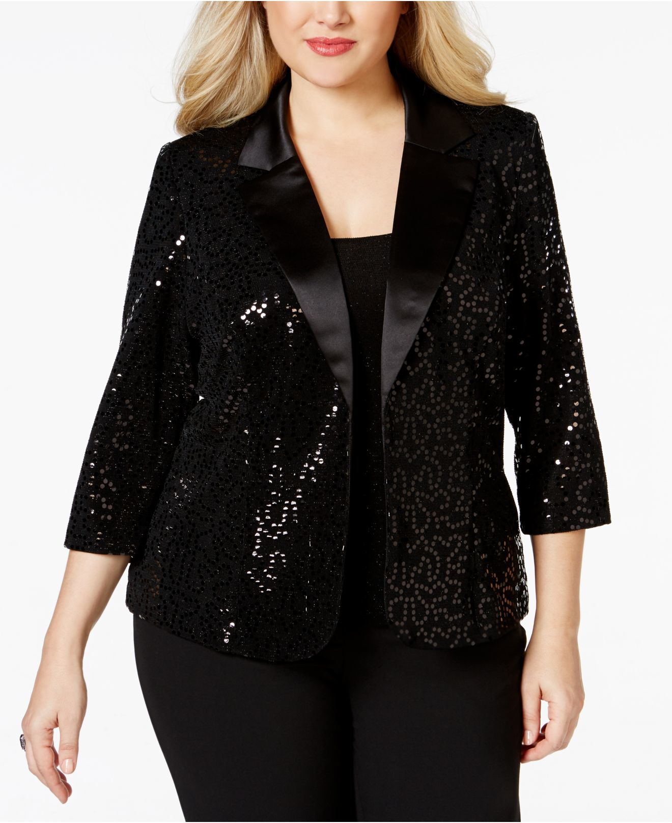 8458cb6ab2a4a Lyst - Alex Evenings Plus Size Glitter   Sequin Top   Jacket Set in ...