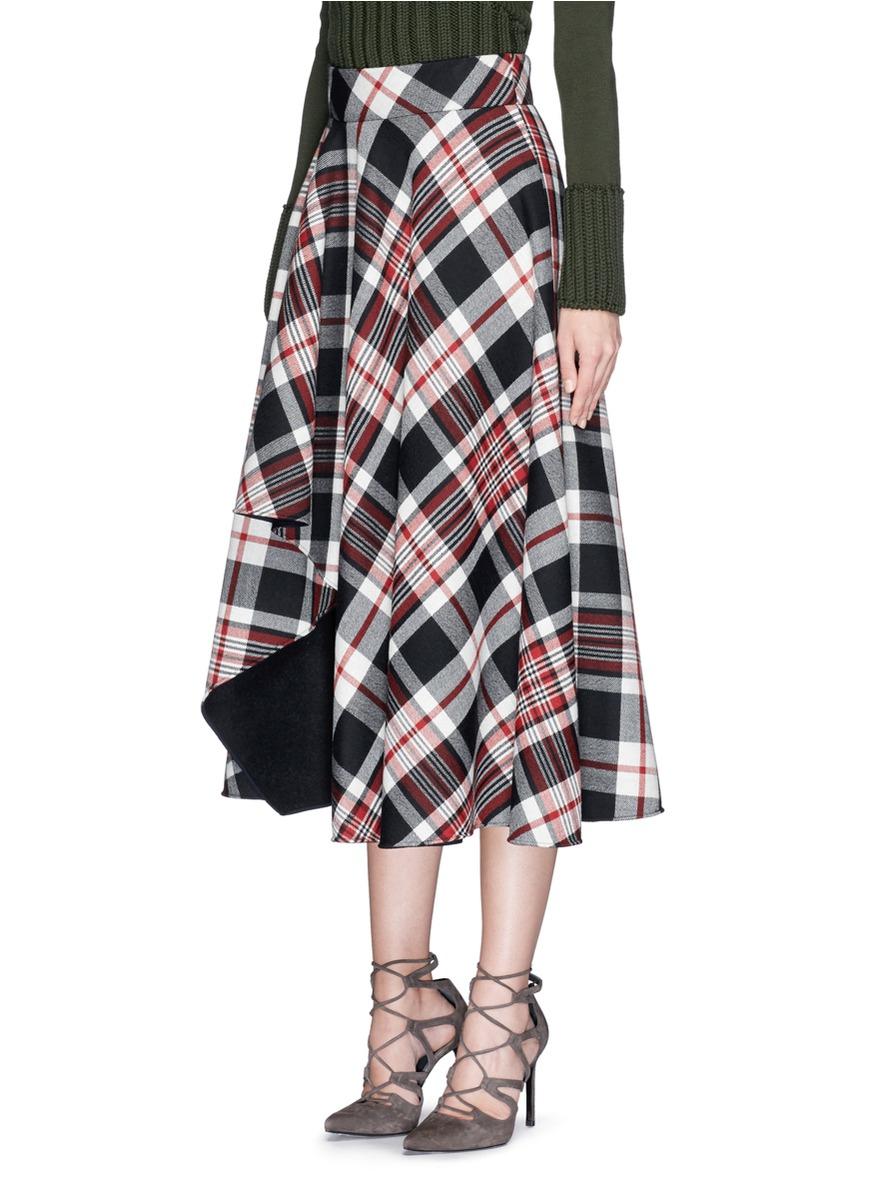 Lyst Alexander Mcqueen Asymmetric Hem Tartan Plaid Wool