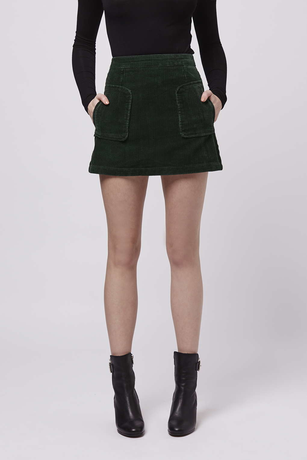 Topshop Patch Pocket Cord A-line Skirt in Green | Lyst