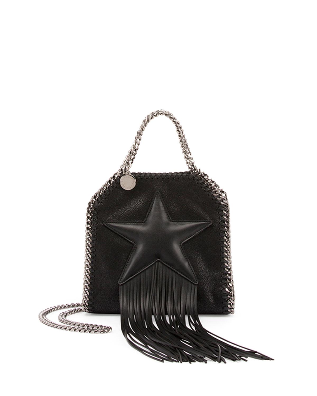 stella mccartney mini bella star fringe shoulder bag in black lyst. Black Bedroom Furniture Sets. Home Design Ideas