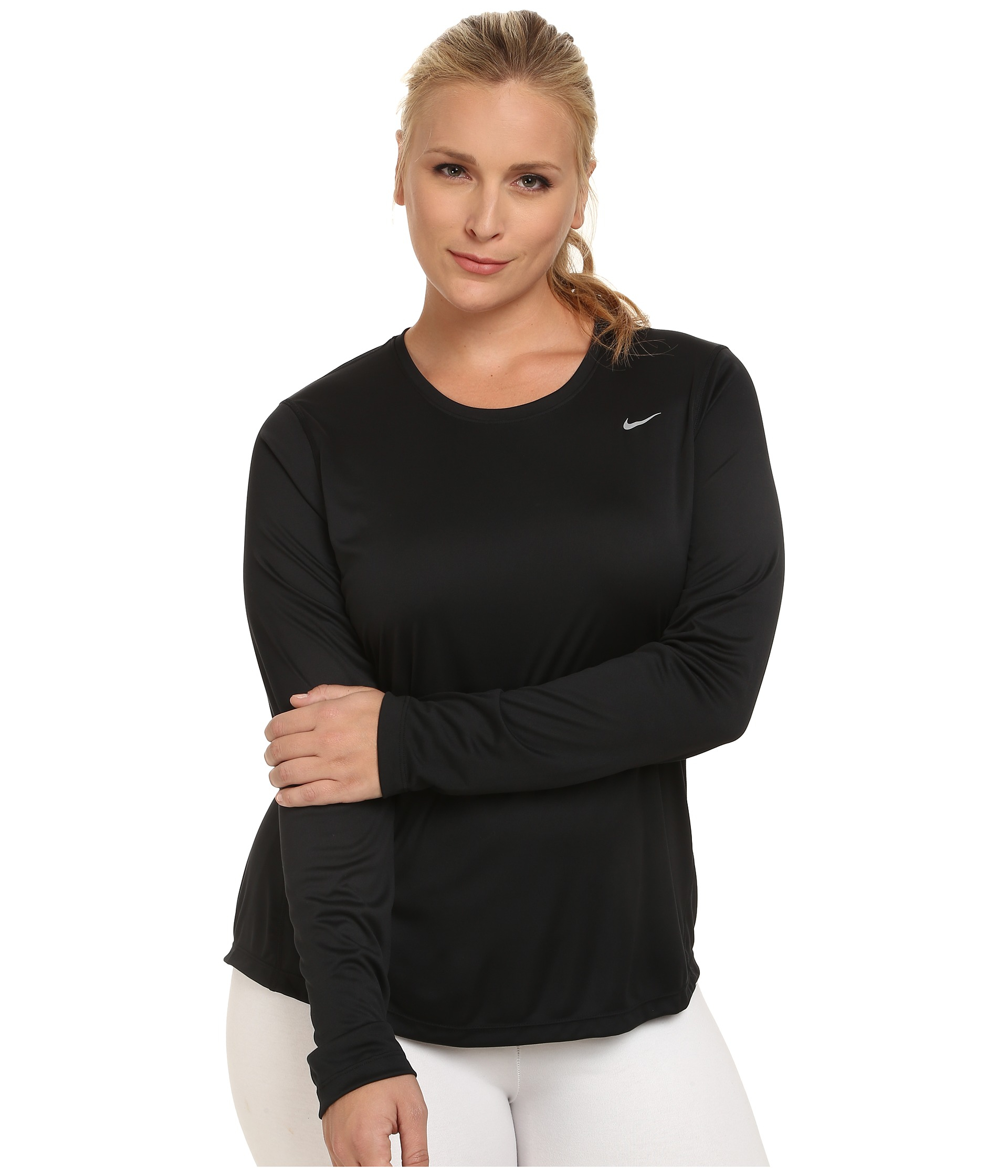 Nike Womens Plus Size Miler Long Sleeve Running Shirt