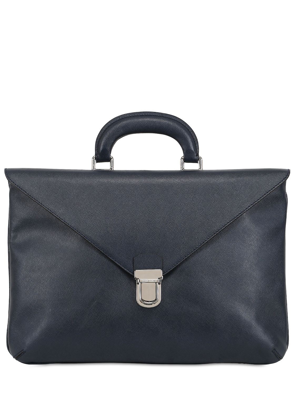 Lyst - Giorgio Armani Saffiano Leather Briefcase in Blue for Men abf828e5d2