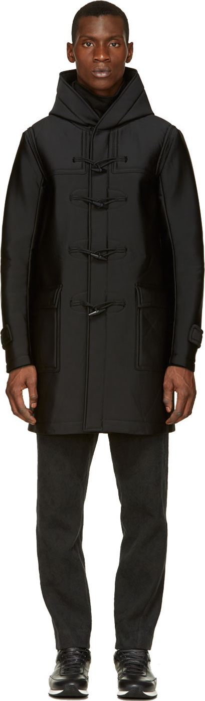 Johnlawrencesullivan Black Neoprene Hooded Duffle Coat in Black