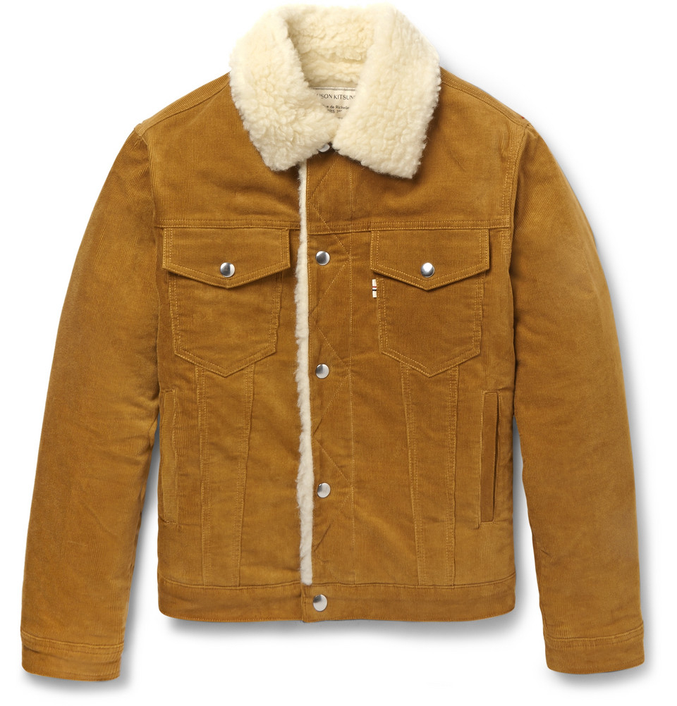 Maison kitsuné Faux Shearling and Corduroy Aviator Jacket in Brown ...