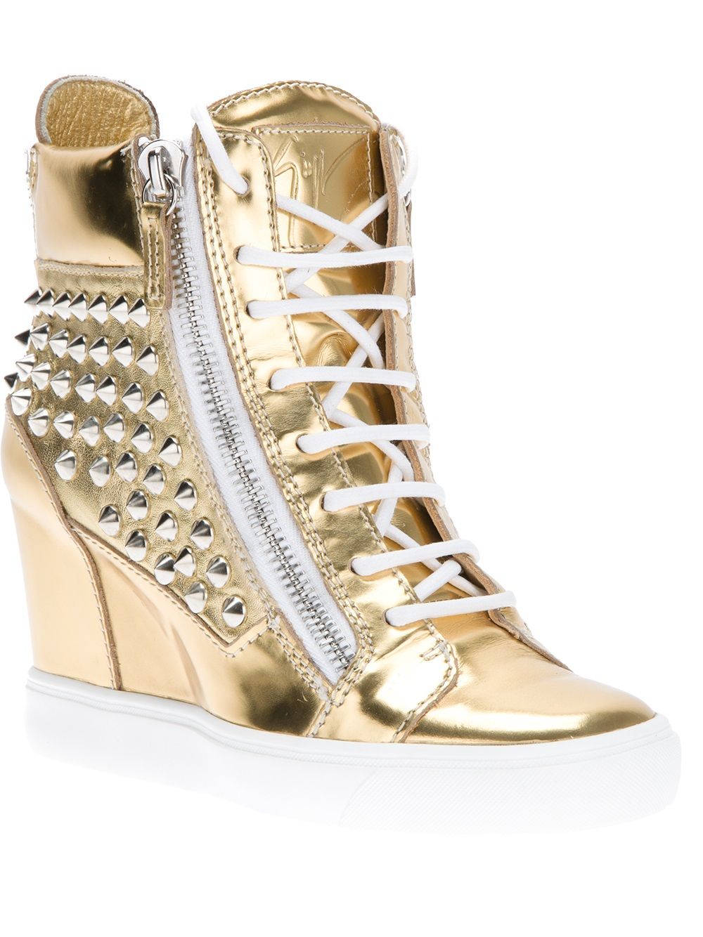 Lyst - Giuseppe Zanotti Wedge Hi-Top Sneakers in Metallic 3eeb1f564