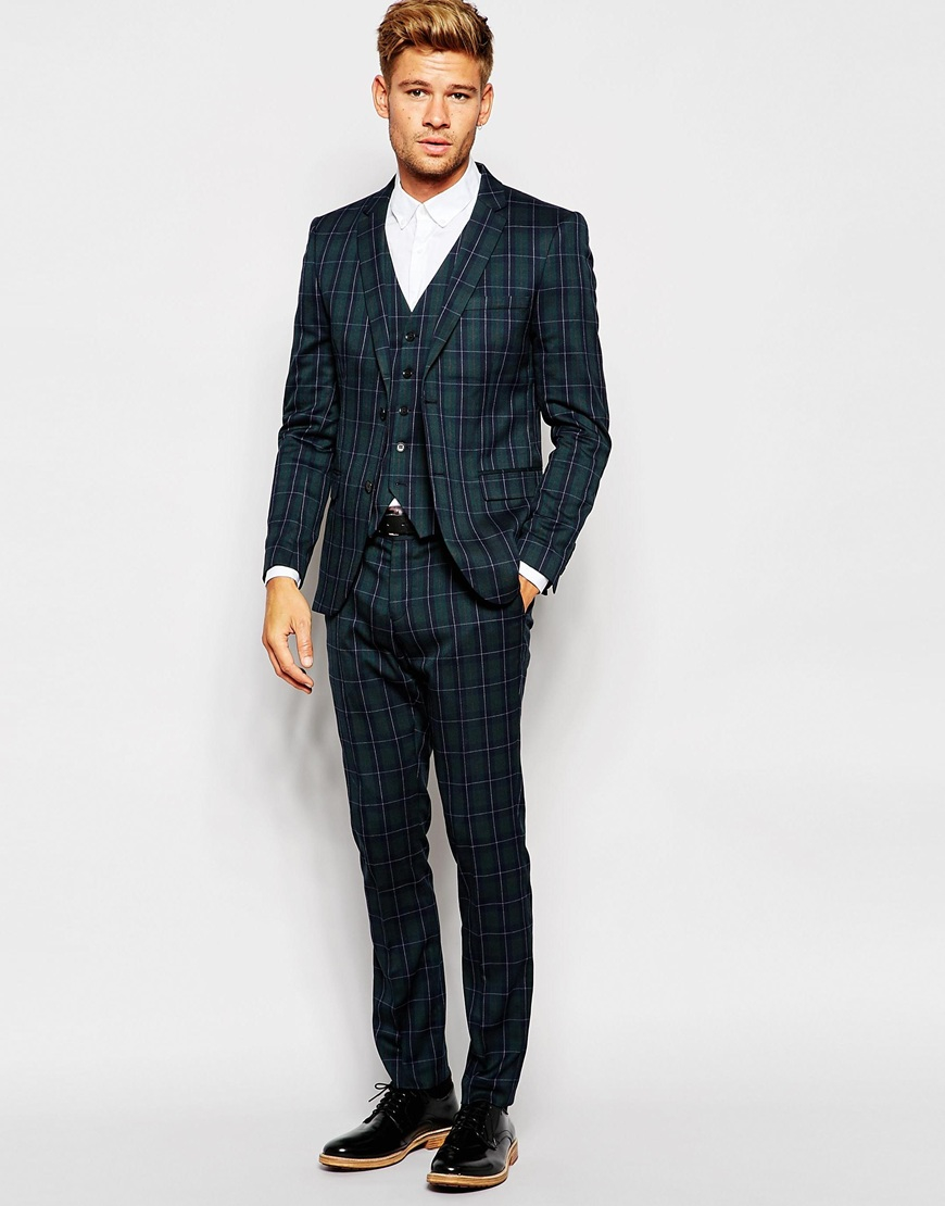 Selected Exclusive Tartan Suit Trouser In Skinny Fit in Green for