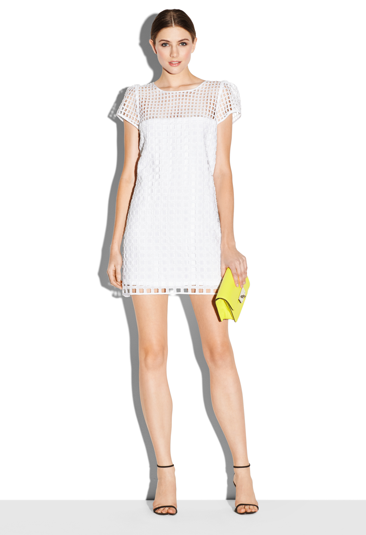 Milly Square Eyelet Illisuion Chloe Dress in White | Lyst