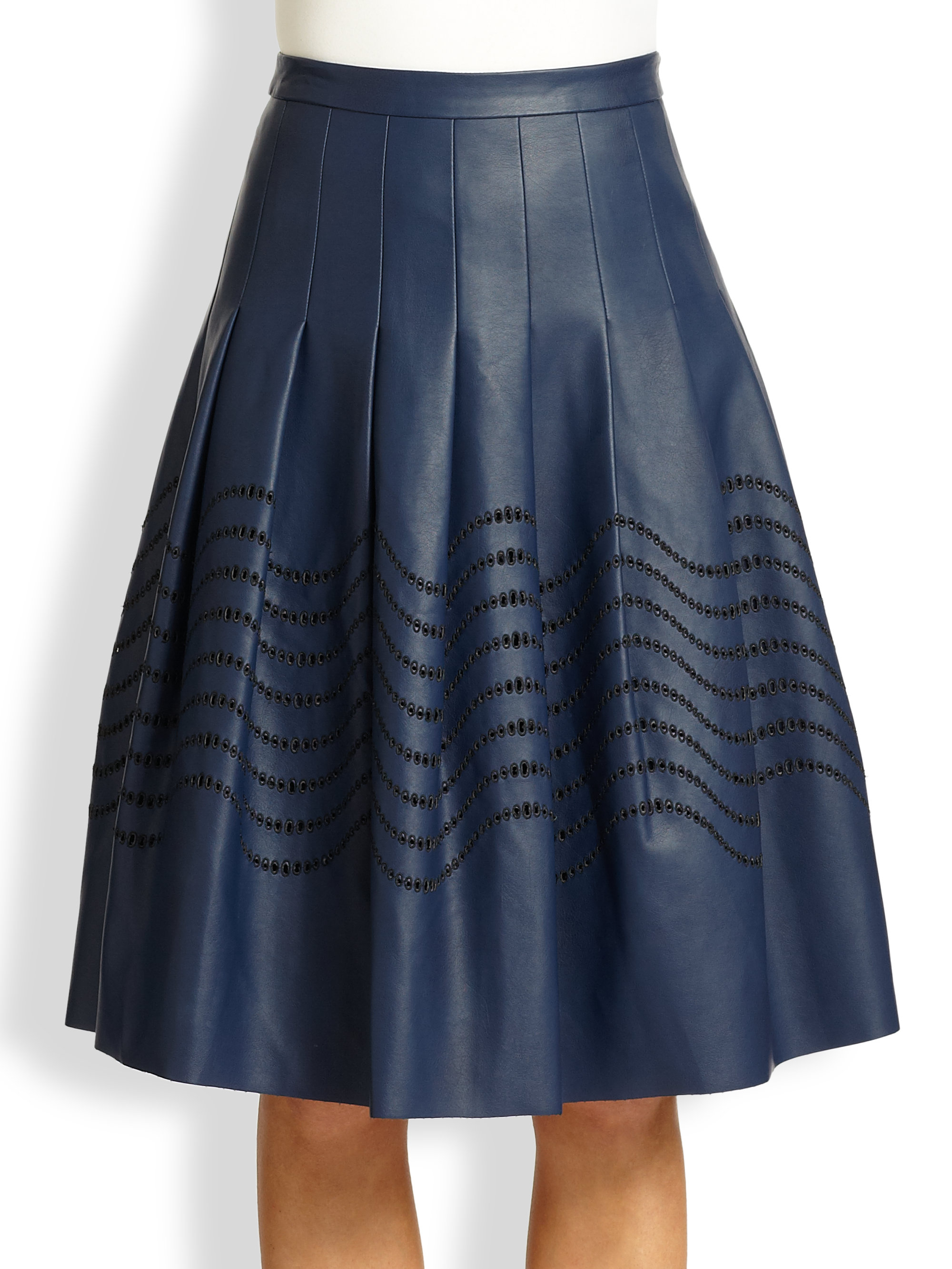 Halston Pleated Faux Leather Skirt in Blue | Lyst