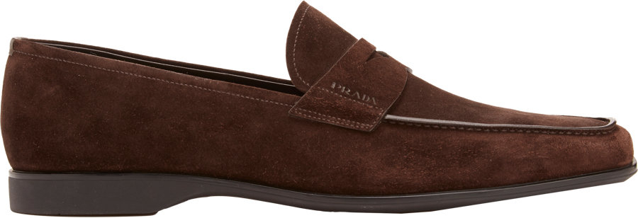 02ca70168ae0 ... germany lyst prada suede penny loafers in brown for men f17d7 98b89