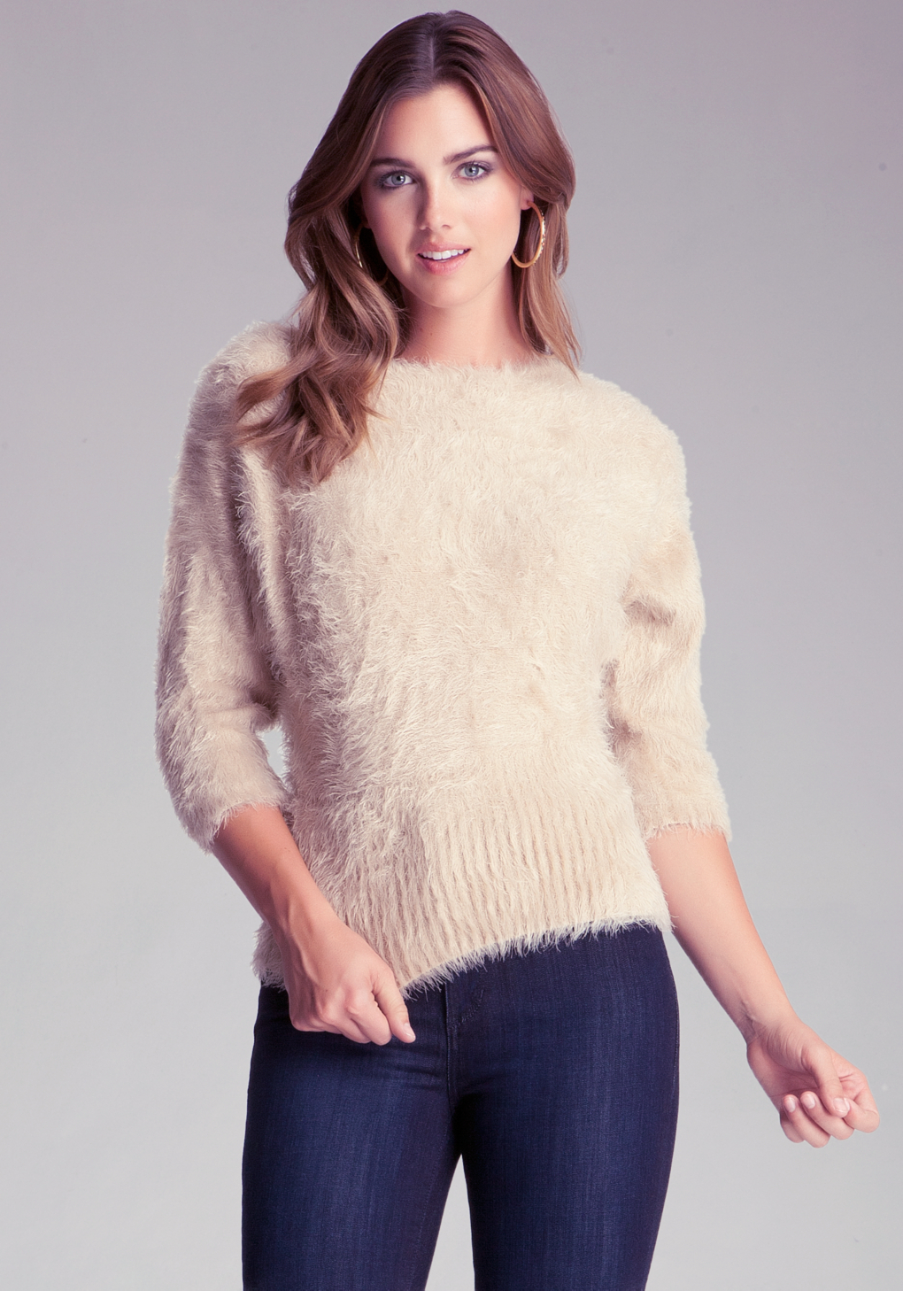Bebe Fuzzy Yarn Sweater In Natural Lyst