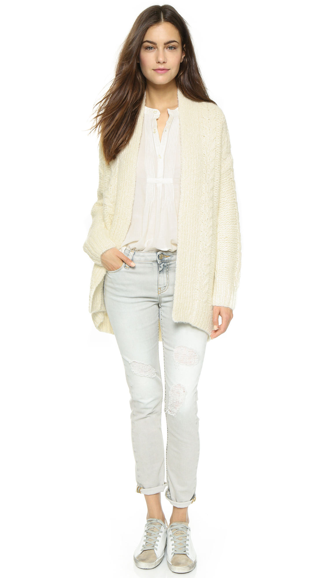 Nili lotan Long Sleeve Kimono Cardigan Sweater - Ivory in White | Lyst