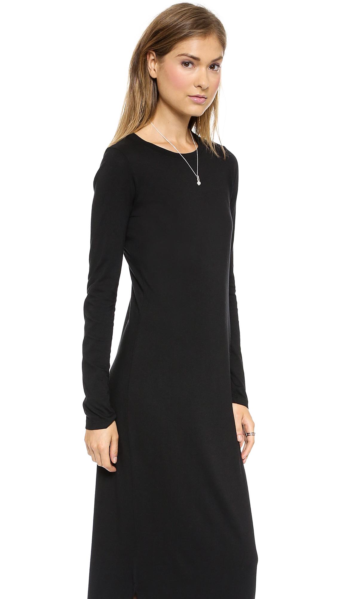 Lyst Daftbird Long Sleeve Maxi Dress With Slit Black In