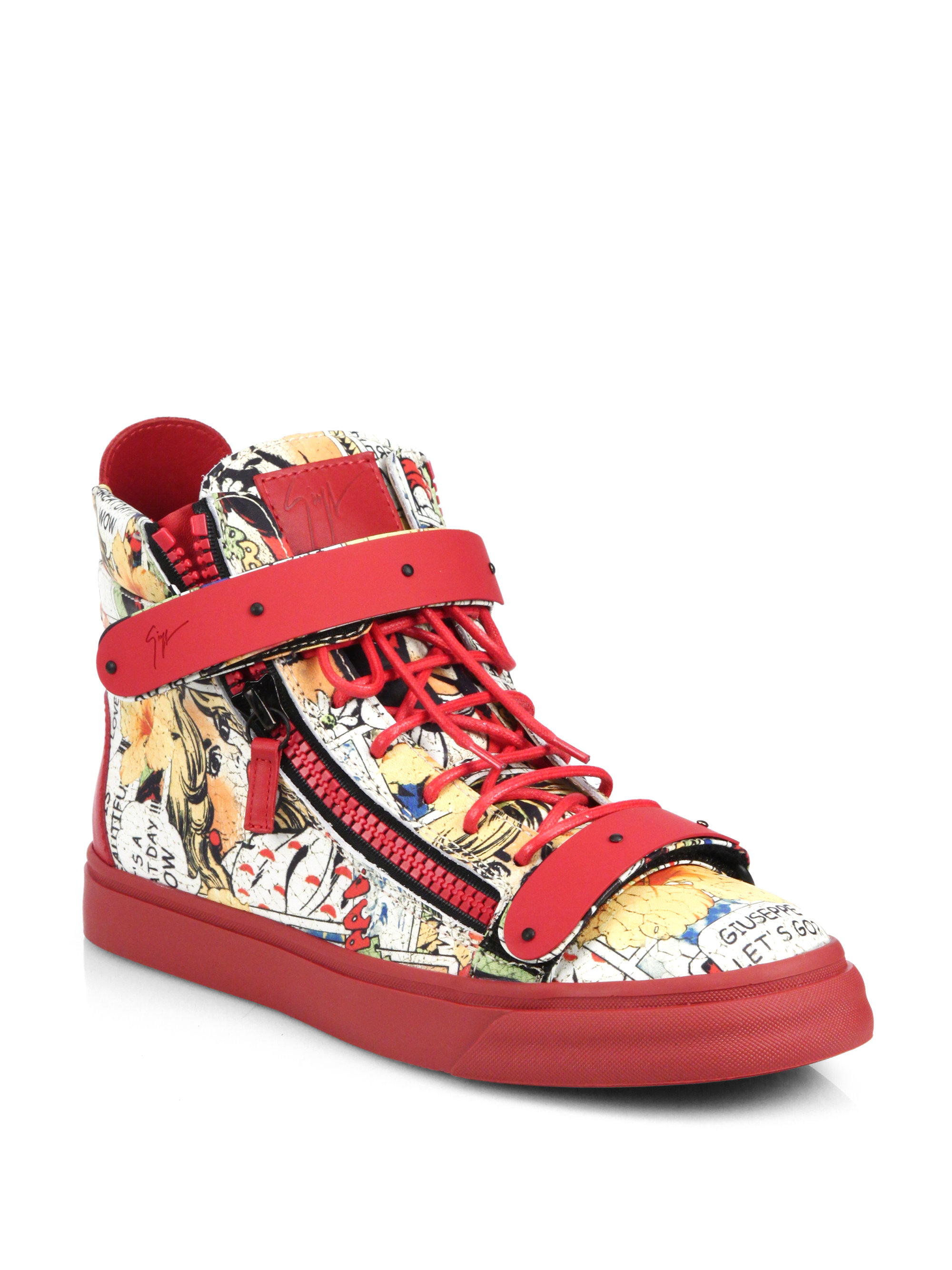 giuseppe zanotti mens comic strip high top sneaker in red. Black Bedroom Furniture Sets. Home Design Ideas