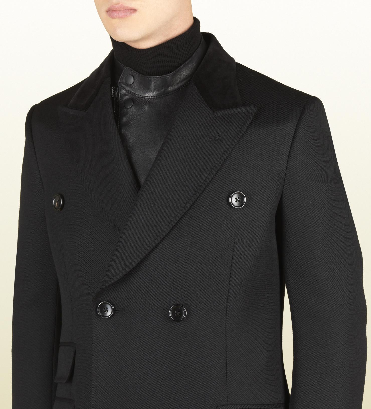 e2330ac354ea9 Lyst - Gucci Black Wool Equestrian Coat in Black for Men