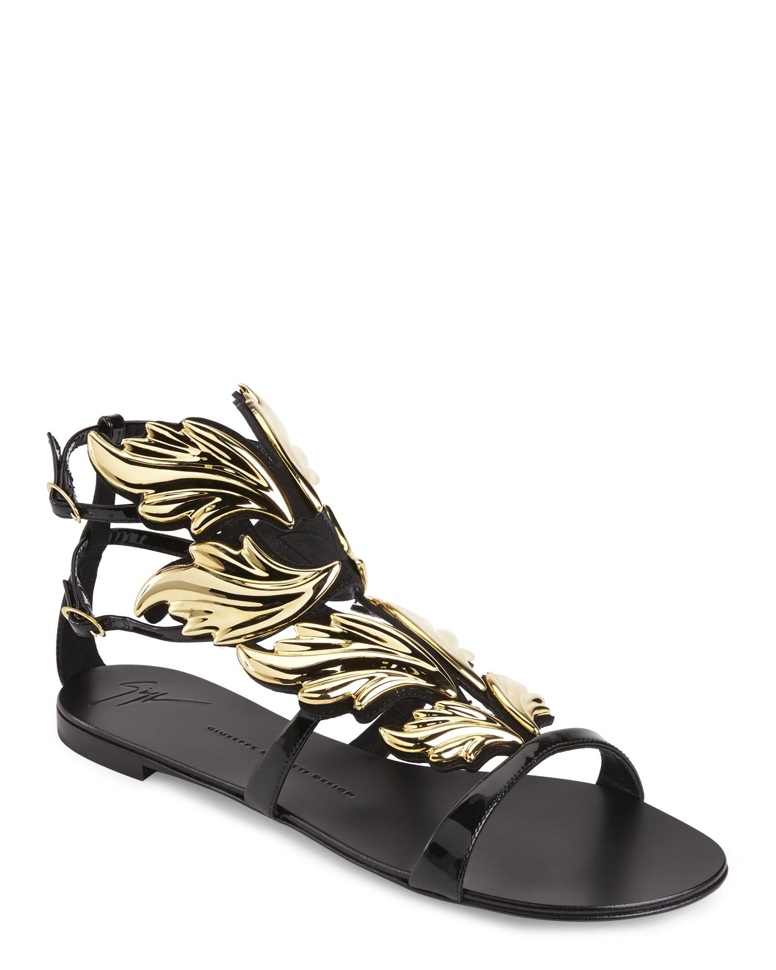 bc8fc916a20a Lyst - Giuseppe Zanotti Black Cruel Flat Sandals in Metallic